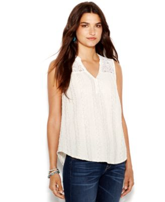 Sleeveless Eyelet Lace Top