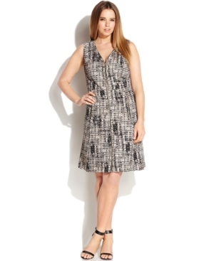 Calvin Klein Plus Size Zip-Front Printed Sleeveless Dress
