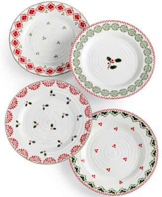 Portmeirion Sophie Conran Christmas Set of 4 Assorted Salad Plates