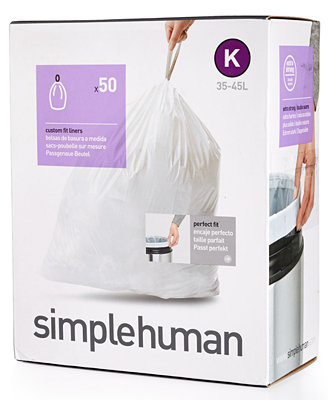 "simplehuman 50 Pack of 35-45 Liter ""K"" Custom Fit Trash Can Liners"