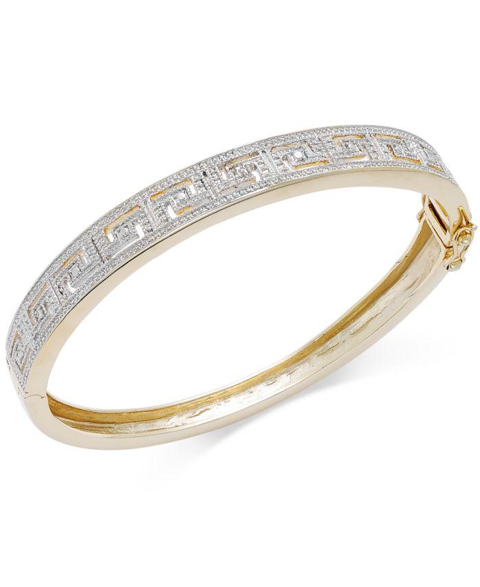 Macy's Diamond Accent Greek Key Bangle Bracelet in Fine Silver Plated Brass & Reviews - Women - Macy's