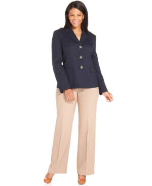 Evan Picone Plus Size Three-Button Navy-Blazer Pantsuit