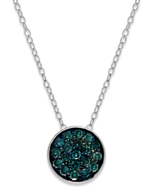 Blue Diamond Round Pendant Necklace in Sterling Silver (1/4 ct. t.w.)