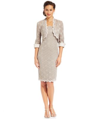 R&M Richards Sleeveless Lace Sheath and Jacket