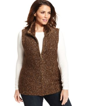 Charter Club Plus Size Faux-Fur Collar Vest