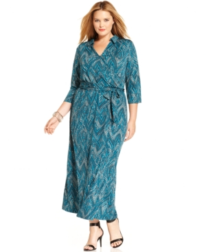 Ny Collection Plus Size Printed Faux-Wrap Maxi Dress