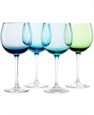 CLOSEOUT! The Cellar Set of 4 Assorted Blue Wine Glasses