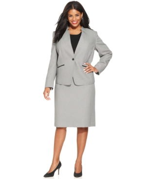 Tahari ASL Plus Size Single-Button Skirt Suit