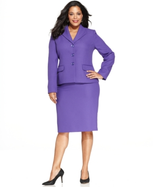 Evan Picone Plus Size Three-Button Textured Skirt Suit