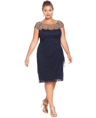Xscape Plus Size Cap Sleeve Beaded Dress Dresses Women