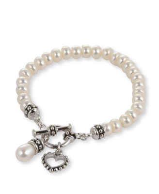 Fresh by Honora Children's Cultured Freshwater Pearl & Sterling Silver Toggle Bracelet