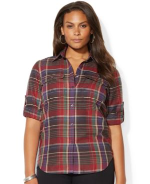 Lauren Ralph Lauren Plus Size Tab-Sleeve Plaid Shirt