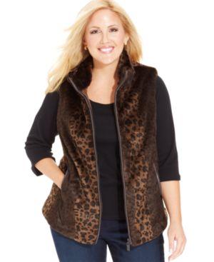 Charter Club Plus Size Faux-Fur Leopard-Print Vest
