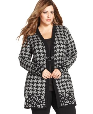 Ny Collection Plus Size Houndstooth Open Front Cardigan Sweater