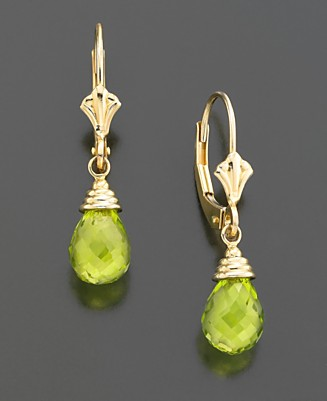 14k Gold Peridot Briolette Drop Earrings - Drop & Stud Earrings Gold Earrings - Jewelry & Watches  - Macy's