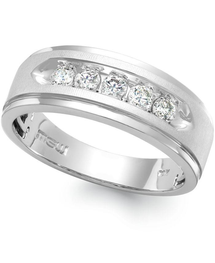 Macy's - Men's Five-Stone Diamond Ring in 10k White Gold (1 ct. t.w.)