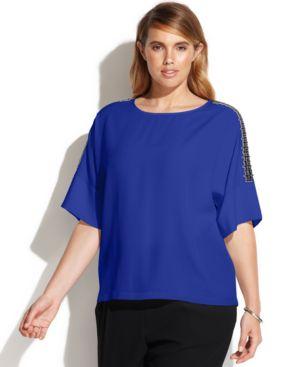 Calvin Klein Plus Size Embellished-Shoulder Top