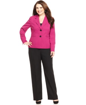Evan Picone Plus Size Two-Button Contrast-Blazer Pantsuit