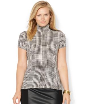 Lauren Ralph Lauren Plus Size Faux-Leather-Trim Plaid Turtleneck Top