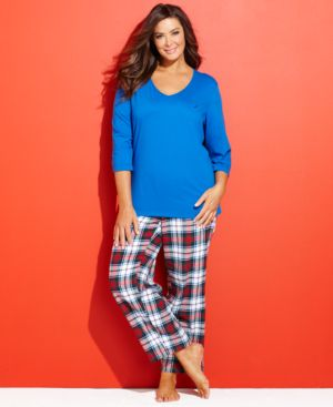 Nautica Plus Size Top and Flannel Pajama Pants Set