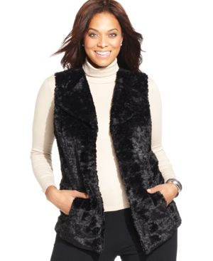 Jm Collection Plus Size Faux-Fur Vest