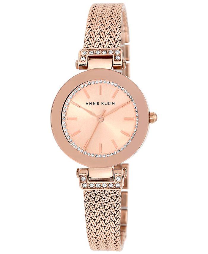 Anne Klein - Women's Swarovski Crystal-Accented Rose Gold-Tone Stainless Steel Mesh Bracelet Watch 30mm AK/1906RGRG