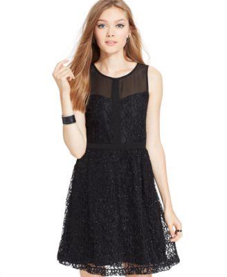 eric  lani Juniors' Lace Metallic Dress