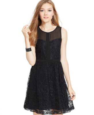 eric  lani Juniors' Lace Metallic Dress