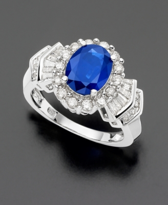 14k White Gold Sapphire (2 ct. t.w.) & Diamond (3/4 ct. t.w.) Ring