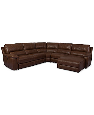 Bran Leather 5 Piece Chaise Sectional Sofa with Power Recliner Furniture Macy s
