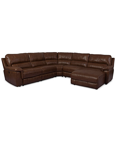 Brandie Leather 5 Piece Chaise Sectional Sofa With Power