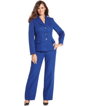 Le Suit Plus Size Three-Button Melange Pantsuit