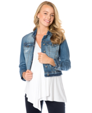 Jessica Simpson Maternity Cropped Denim Jacket plus size,  plus size fashion plus size appare