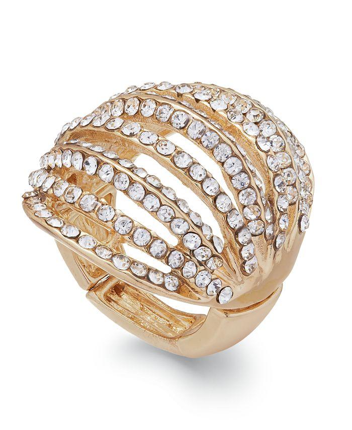 INC International Concepts - Gold-Tone Crystal Pavé Multi-Row Stretch Ring