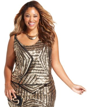 Soprano Plus Size Sleeveless Sequined Top