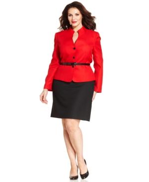 Tahari ASL Plus Size Herringbone Belted Skirt Suit