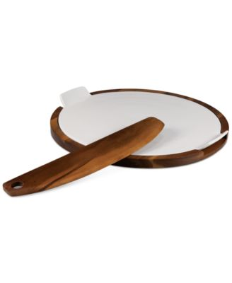 Heritage Collection by Fabio Viviani Acacia Wood Pizza Stone and Cutter