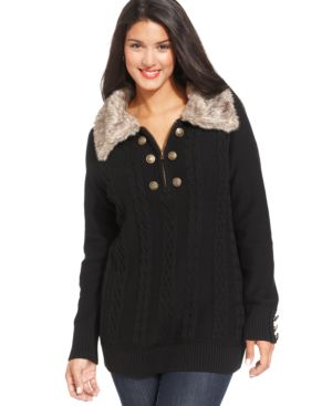 Style & co. Plus Size Faux-Fur-Collar Cable Sweater