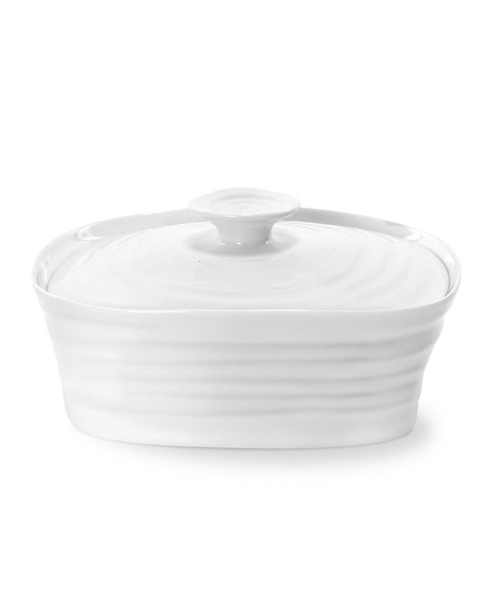 """Portmeirion - """"Sophie Conran"""" White Covered Butter Dish, 6"""" X 4.75"""""""