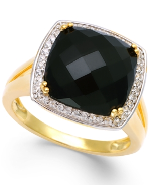 Faceted Onyx (4-1/2 ct. t.w.) and Diamond (1/5 ct. t.w.) Ring in 14k Gold