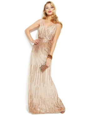 Adrianna Papell Sleeveless Sequin Illusion Gown $147.99 AT vintagedancer.com