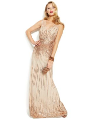 Adrianna Papell Sleeveless Sequin Illusion Gown