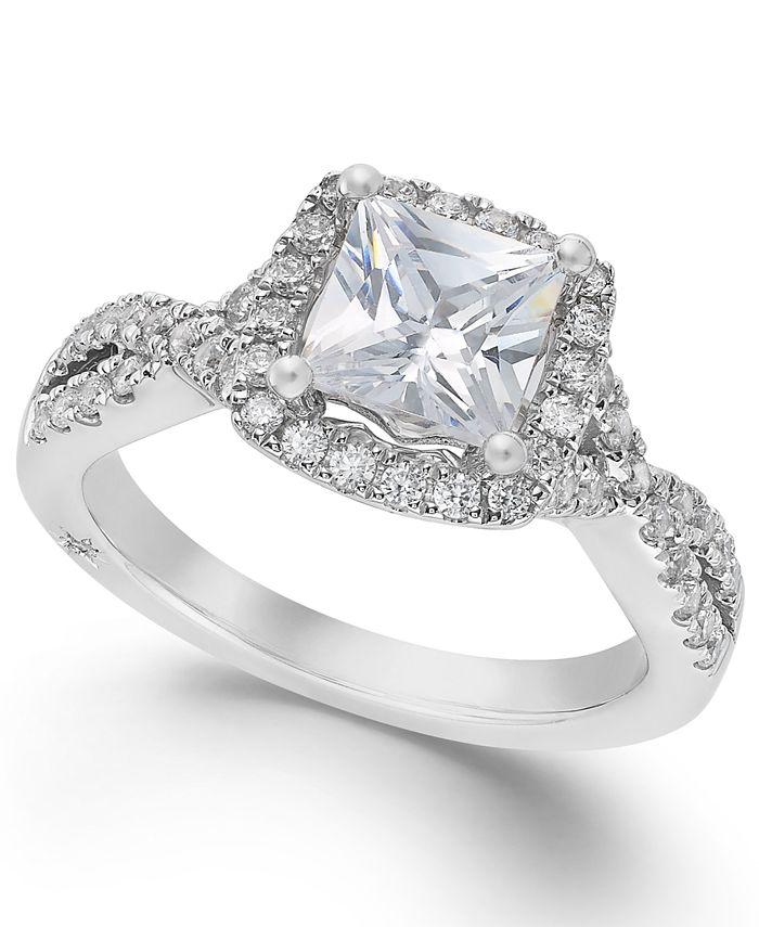 Marchesa - Certified Princess Halo Diamond Twist Shank Ring (1-1/3 ct. t.w.) in 18k White Gold