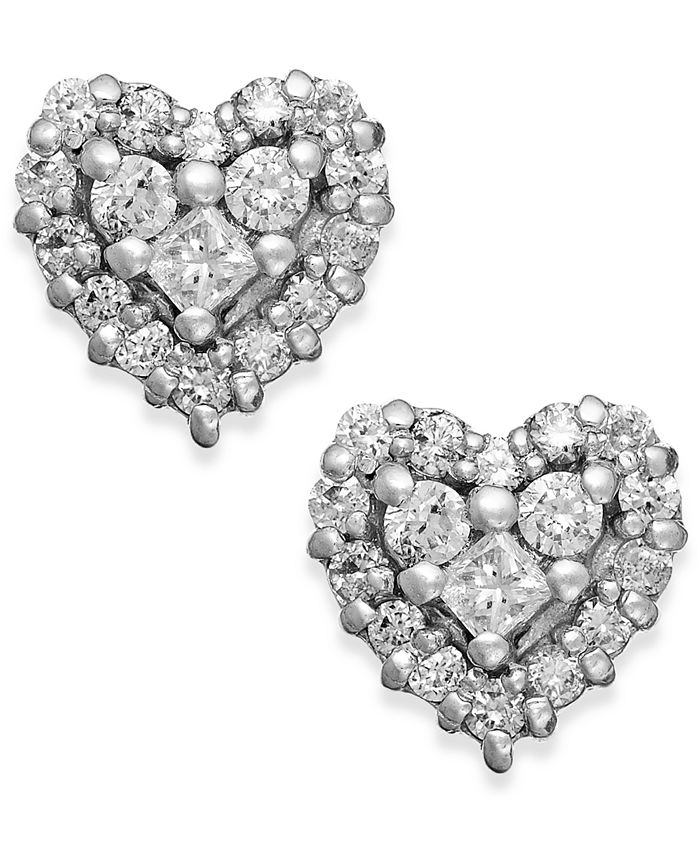 EFFY Collection - Diamond Heart Stud Earrings in 14k White Gold and Rose Gold (1/2 ct. t.w.)