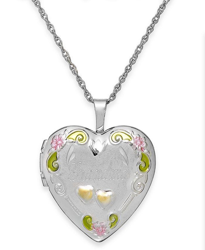 Macy's - Grandma Painted Heart Locket in Sterling Silver