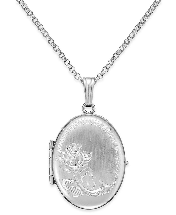 Macy's - Embossed Four-Picture Oval Locket in Sterling Silver