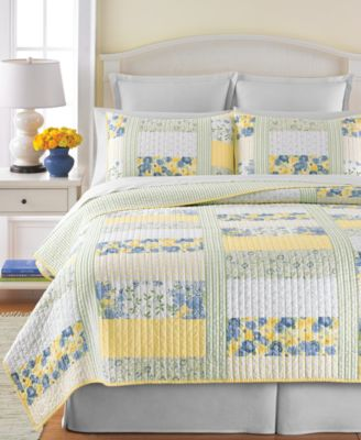 Martha Stewart Collection Blue & Yellow Patchwork Posey King Quilt