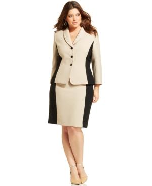 Tahari ASL Black Panel Plus Size Skirt Suit