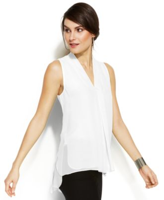 Vince Camuto Sleeveless Inverted-Pleat Blouse