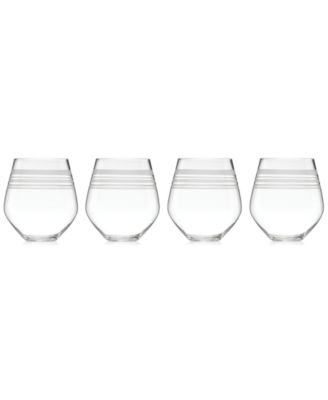 kate spade new york Library Stripe Stemless Red Wine Glasses